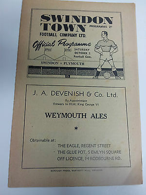 1948/49 SWINDON TOWN v PLAYMOUTH  2nd October