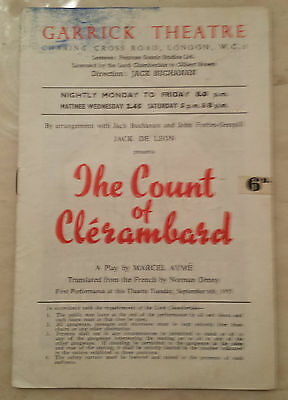 1930's Garrick Theatre Programme: THE COUNT OF CLERAMBARD by Marcel Ayme