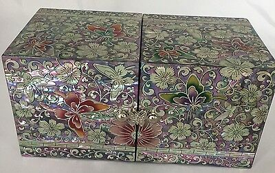 #1107  jewellery box mother of pearl inlaid lacquer ivory butterfly,petals
