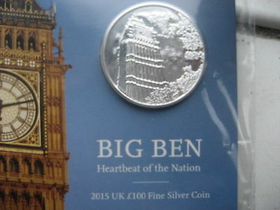 Big Ben 2015 Uk £100 Fine Silver Coin Royal Mint (LIMITED EDITION 50,000)