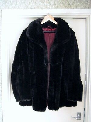 Tissavel - Ladies Dark Brown Faux Fur Jacket - Made in France - Size 16-18