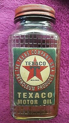 Vintage Texaco Motor Oil Glass Bottle W/Metal Cap Lid Can Gas Station Sign (#2)