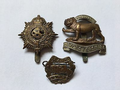 Collection Of WW1 Badges Including Leicestershire And Tank Corps