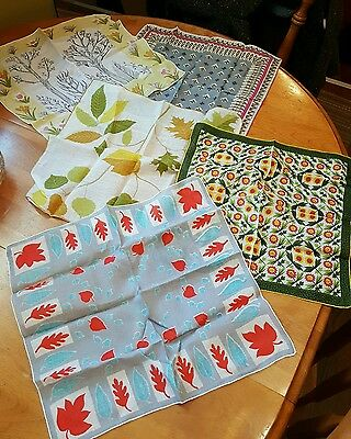 5 vintage hankies handkerchief cotton 2 signed organic leaves and flowers
