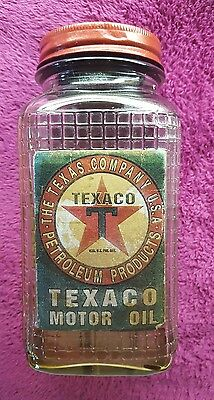 Vintage Texaco Motor Oil Glass Bottle W/Metal Cap Lid Can Gas Station Sign (#3)