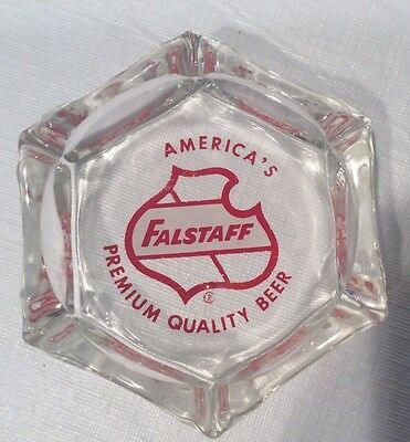 "Vintage Falstaff Beer Ashtray Glass Bar Hexagon 4"" Collectible Advertising"
