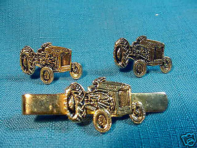 1 pr Vintage FORD metal figural TRACTOR CUFFLINKS & matching Tie Clip Bar