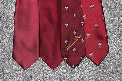Wales WRU Rugby Union Ties x4 - Prince of Wales embroidered logo