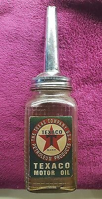 Vintage Texaco Motor Oil Glass Bottle W/Metal spout Gas Station Sign (#5)