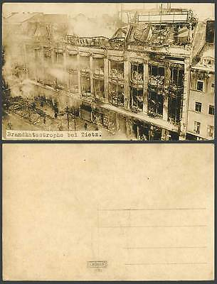 Fire Disaster Brandkatastrophe bei Tietz Possneck Old Real Photo Postcard Leonar