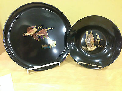 """2 Couroc Canadian Geese Trays 10 3/8"""" diameter and 7 3/4"""" diameter"""