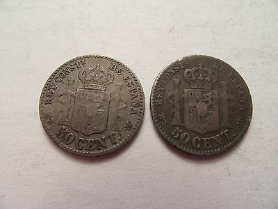 Lot of 2 Spain Silver 50 cent, 1 1880 + 1 1885
