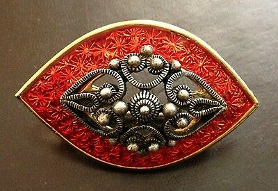 Red Enamel And Filigree Gold Tone Brooch