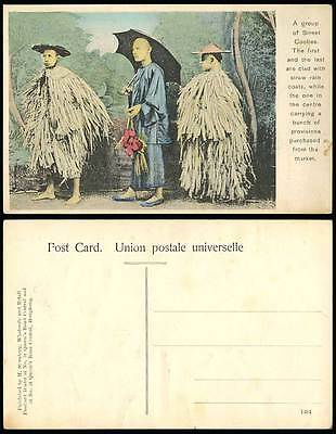 China Old Hand Tinted Postcard Native Chinese Street Coolies Bamboo Raincoat Hat