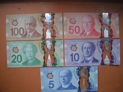 Set of NEW UNC Canadian Polymer Banknotes