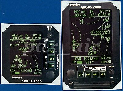 Eventide Argus 7000, 5000 Aircraft Moving Map Sticker