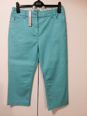 Ladies M&S Per Una Turquoise Cotton Mix Stretch Cropped Trousers Size 14 - BNWT