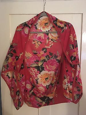 Coral Pink Floral Print Scarf Bolero Style Shawl Cover Up OneSize