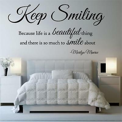 KEEP SMILING MARILYN MONROE Wall Sticker life beautiful quote bedroom art vinyl