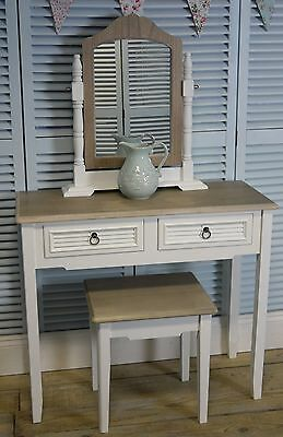 White Vintage Two Drawer Dressing Table/Hall Table With Vanity Mirror And Stool