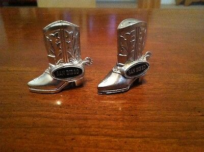 Vintage San Diego Silver Boot Salt and Pepper Shakers