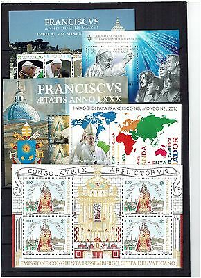 Vatican City 2016 Complete Year 26 Stamps 7 Miniature Sheets  1 Bookletun/mint