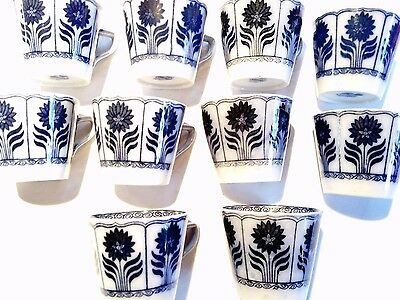 Minton coffee cups flow blue and white,  vintage yet modern,  10 but no saucers