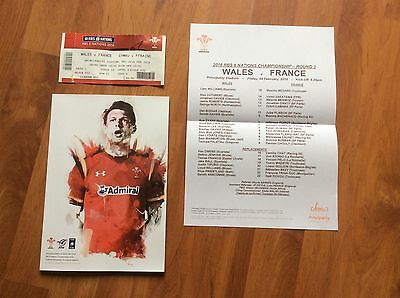Wales V France 2016 Six Nations Rugby Programme, Team Sheet & Ticket. Mint. L@@k