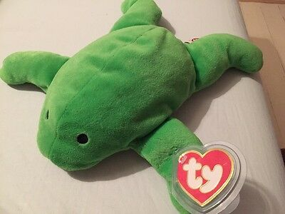 """Ty 1st Gen """"Ribbit"""" Frog Pillow Pals Syle 3006 RARE Only One On Ebay"""