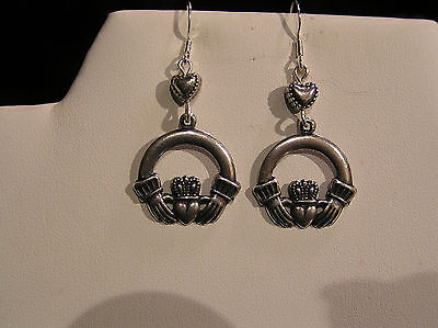 *sale* Handcrafted Celtic Claddagh Earrings.lg.silv