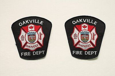 Oakville Fire Department Ontario Canada Shoulder Flash Patch - Set of 2