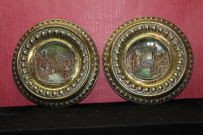 Antique pair of plate in brass embossed and earthenware - Faience *