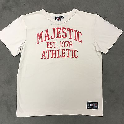 Majestic MLB Cream Baseball Jersey with Red Print. Size M