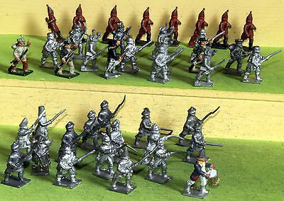 25mm minifigs seven years war infantry mixed lot white metalfigures