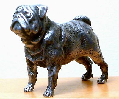 Hand Made Collectable Miniature Pewter Pug Dog Figurine