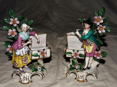 ANTIQUE FRENCH PORCELAIN BOCAGE FIGURINES,HAND PAINTED GILDED DESIGN,DATE c1890.