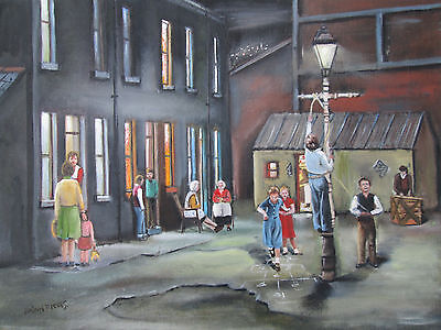 Original Oil Painting By Brian Reeves 'games By Lamplight'