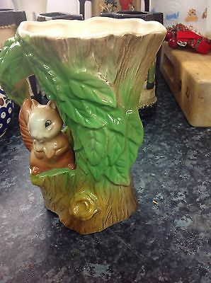 Vintage Squirrel Eastgate Pottery Withernsea Fauna Tree Shaped Vase Jug