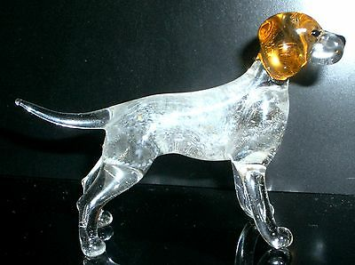 "Hand Blown ""murano"" Glass Collectable Pointer  Dog  Figurine"