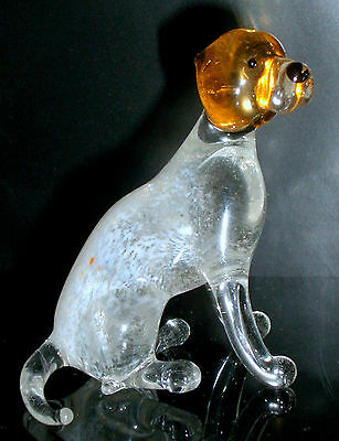 "Hand Blown ""murano"" Glass Collectable Sitting Pointer Dog Figurine"