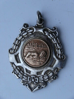 Vintage Ornate Swimming Medal Watch Fob