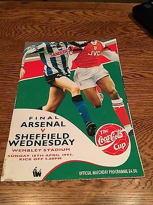 Arsenal V Sheffield Wednesday Coca Cola Cup Final 1993. Official Programme