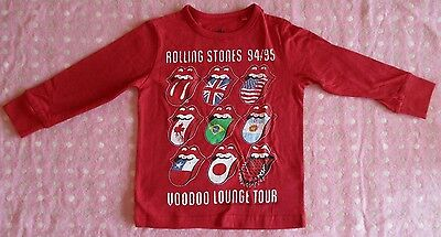 BNWOT NEXT Rolling Stones print red baby boy's long sleeved top. 3 to 6 months