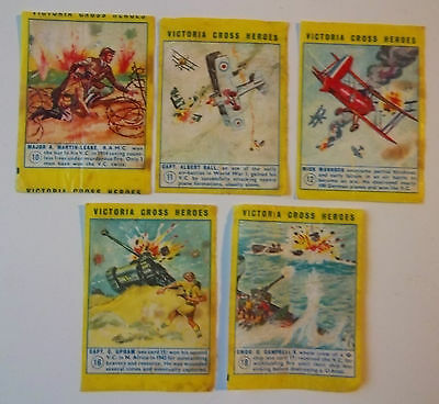 5 Rare Anglo American Gum ? Victoria Cross Heroes  Wax Wrappers