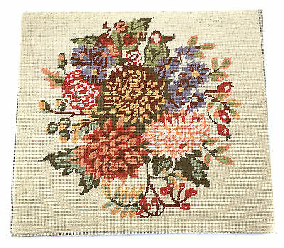 1950s Needlepoint of Flowers Woolwork Vintage Sampler of Floral Bouquet