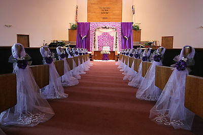 Set of 10 Purple Wedding decorations Chair Bows Pew Bow Satin Church Aisle Decor