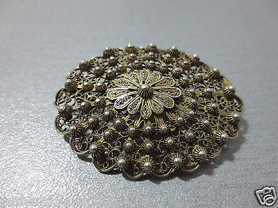Gorgeous ANTIQUE VINTAGE SILVER FILIGREE+GRANULATION+GILDED Pin Brooch ORNAMENT