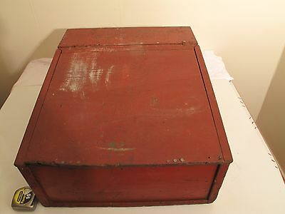 Large Vtg Antique ? Home Made Desk Top Writing Box Storage Tool Box In Red Paint
