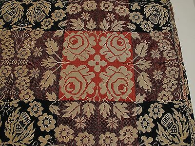 Antique 1830S Pieced Coverlet Eagles Thistles Red White Blue Orange Purple Fall