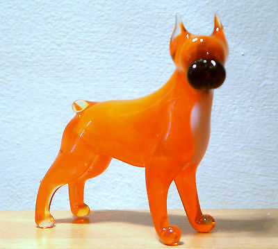 """Hand Blown """"murano"""" Glass Collectable Boxer Dog Figurine"""
